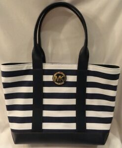 98944fd5090ba9 Michael Kors Navy Blue & White Striped Purse New Free Shipping ...