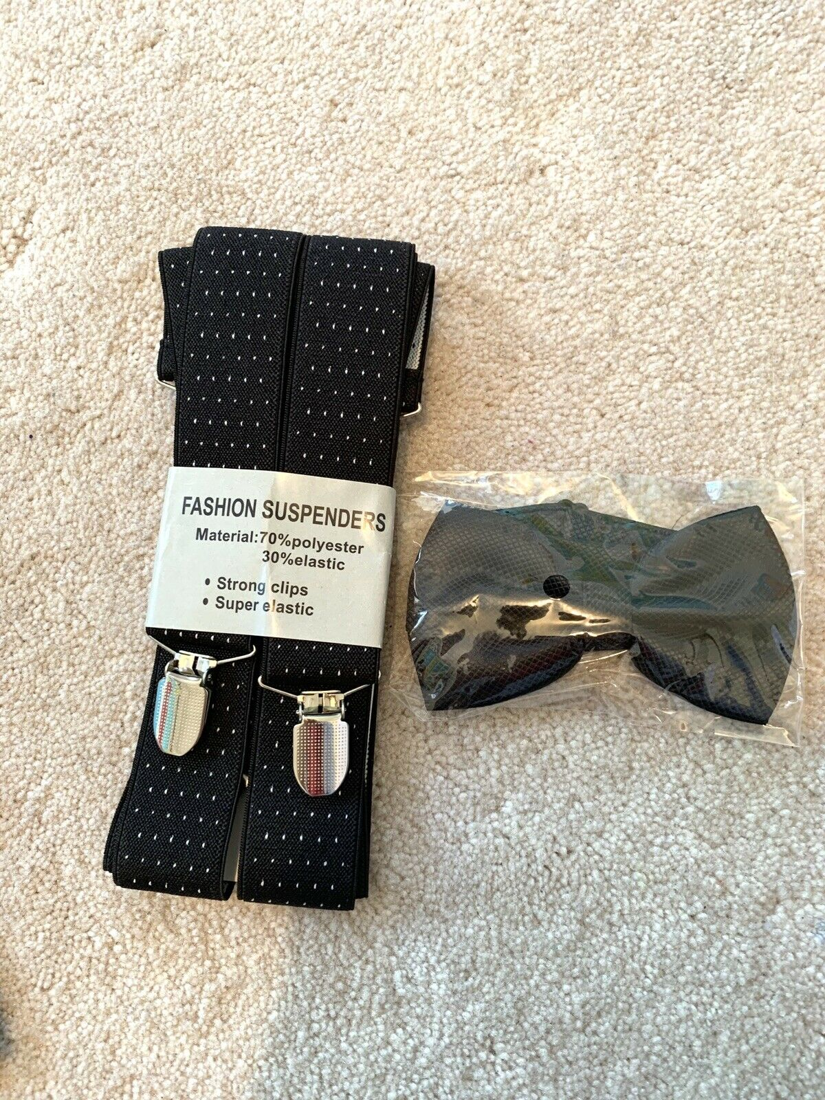 Fashion Mens Spotted Black Suspenders Braces with Matching Bow Tie Combo Set!!