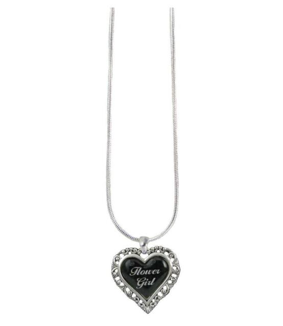 Flower Girl Black Heart Silver Snake Chain Necklace Jewelry Wedding