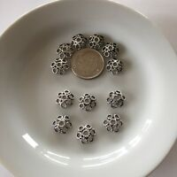 12pc Bead Cap Sterling Silver 9.5mm Bali Style Wire Flower Wholesale (bc13-12)