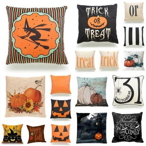 Halloween Pumpkin Pillow Cases Sofa Waist Throw Cushion Cover Home Decor 1x