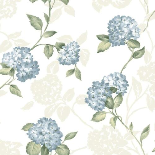 Wallpaper Designer Blue Hydrangea Green Leaf Trail on Bone