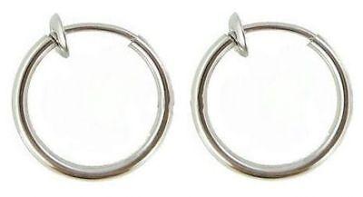 2 Fake Non Piercing Clip On Hoop Ring Lip Nose Ear 8mm Diameter
