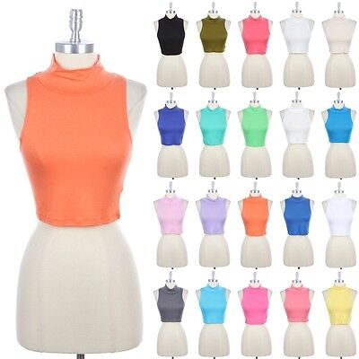 Plain Mockneck Crop Tank Top Solid Sleeveless Turtleneck Cute Sexy Rayon S M L