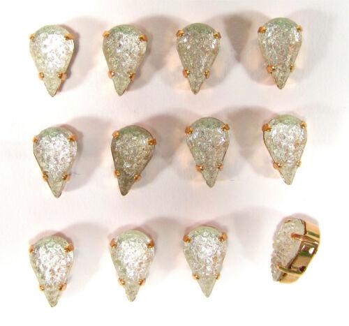 12 vintage Glassteine 50er Jahre crushed crystal 13x8 tropfen Fassung sew on