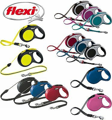 Flexi Retractable Dog Leads Cord Tape Vario Neon Classic Extending Lead 8-60kg