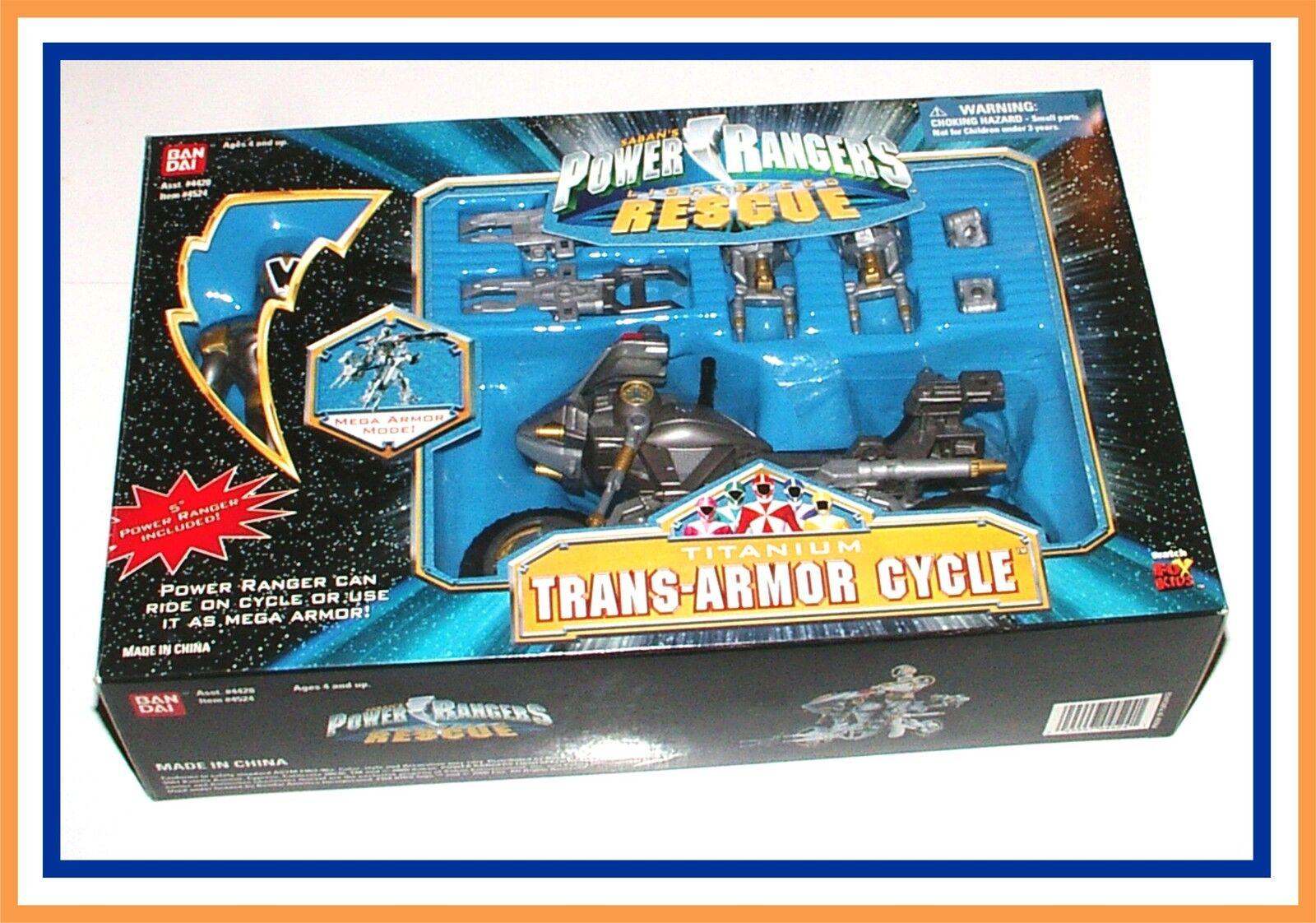 Power Rangers Lightspeed Rescue _ Titanium Trans-Armor Cycle with Ranger (MIB)