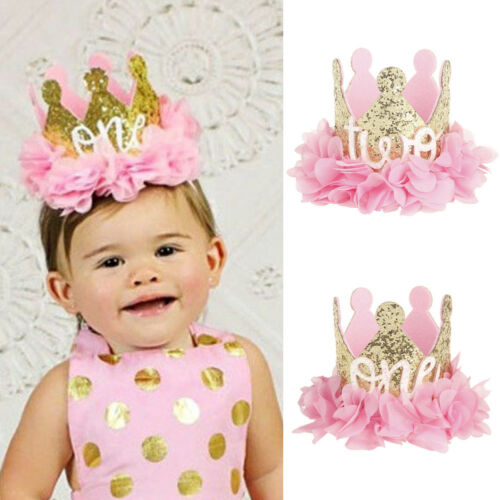 Baby Girl Boy Birthday Crown Party Hat Headband Party Hair Bands Accessories New