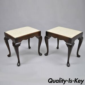 Image Is Loading Pair Of Madison Square Mahogany Queen Anne Style