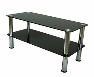 Mountright premium coffee table tv stand black glass for Coffee tables 30cm wide