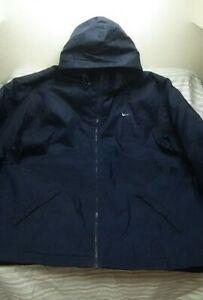 bleu Puffer capuche marine amovible Veste isolée imperméable Nike oversize XL XXL AwRTSX