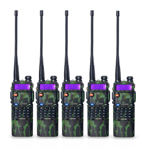 3800mah Battery 5 PCS BaoFeng UV-5R Camouflage  Dual UHF//VHF Radio Transceiver