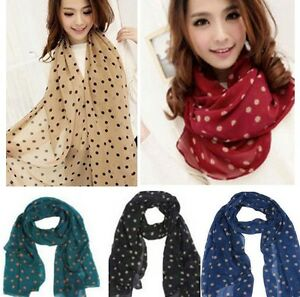 New-Arrive-Fashion-Women-039-s-Long-Wrap-Lady-Shawl-Polka-Dot-Chiffon-Scarf-Scarves