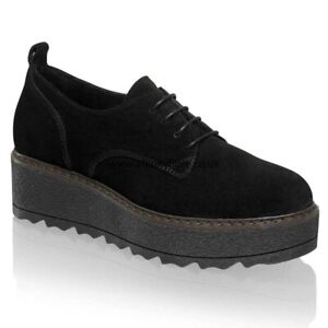 Russell-amp-Bromley-EQUINOX-Flatform-Lace-Up-Loafers-in-Black-suede-Size-40-uk-7