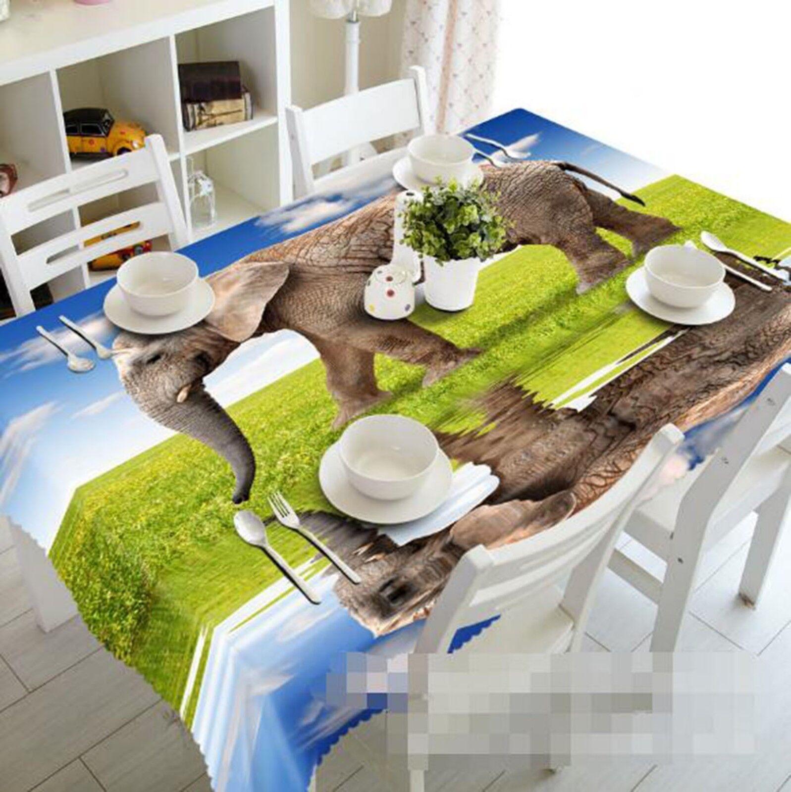 3D Elephant Meadow 22 Tablecloth Table Cover Cloth Birthday Party Event AJ Lemon