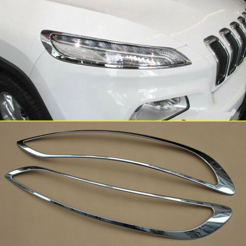 For Jeep Cherokee 2014-2018 Chrome Head Light Lamp Surrounds Cover Accessories