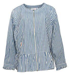 Denim & Co. Women's Plus Sz 1X Yarn Dyed Striped Peplum Jacket Blue A351550