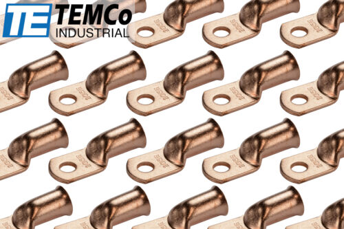 25 Lot 2/0 5/16 Hole Ring Terminal Lug Bare Copper Uninsulated AWG Gauge