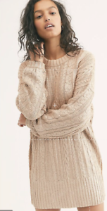 Details about  /Free People Good As Gold Cable Knit Sweater Dress Tunic Oversized Metallic