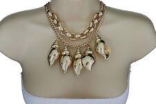 Women Fashion Necklace Gold Metal Chain Big Sea Shells Pendant Jewelry + Earring