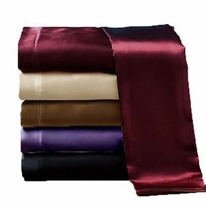 New-Luxury-Soft-Satin-Silky-Sheet-Set-Fitted-Pillows-Flat-Black-Brown-Purple