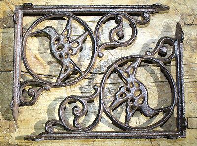 2 Cast Iron Antique Style BUTTERFLY Brackets Garden Braces Shelf Bracket HEAVY
