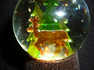 Hallmark Gift Bag Deer in Woods Lighted Snow Globe Glitter NEW