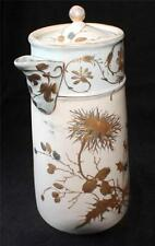 """Antique RC Germany Hand Painted Gold Leaves Decor 10""""h Chocolate Pot Pitcher"""