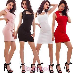 Vestito-donna-miniabito-tubino-aderente-inserti-pizzo-elegante-nuovo-CJ-2570