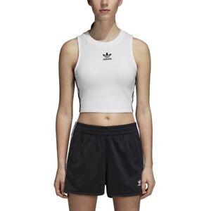 Detalles de Camiseta Tirantes (Tank Top) Crop adidas Blanco Mujer