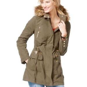 International Faux Concepts Jacket Xl Green Army 689439638246 Fur Inc Trim Anorak UqdSEUHx