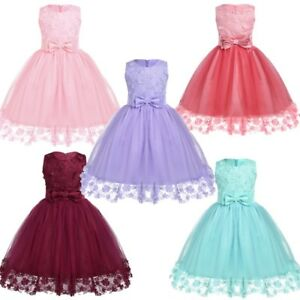 de4c5526a76f Image is loading Flower-Girl-Princess-Dress-Birthday-Party-Wedding-Pageant-