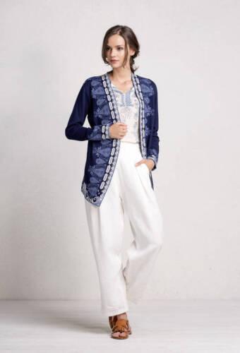IVKO Cardigan Intarsia Pattern Coat Long-Jacket blau Jacke marine 71515