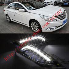 2x White LED Daytime Running Light DRL Fog Lamp For Hyundai Sonata 2011-2014