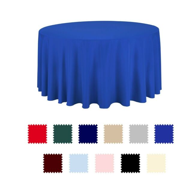 """10 pcs 120/"""" Round Tablecloth Polyester For Home Wedding Restaurant Party White"""
