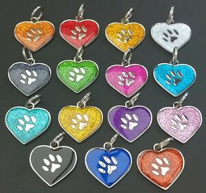 Heart-Shape-Glitter-Engraved-Pet-Tags-30mm-DOG-CAT-ID-Disc-Disk-FREE-P-amp-P