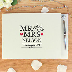 Personalised Wedding Gift Book : Personalised-Mr-And-Mrs-Message-Guest-Book-amp-Pen-Set-Wedding ...