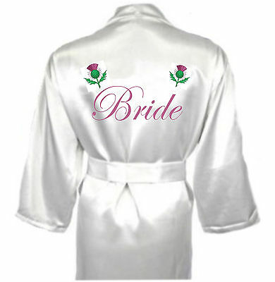 Ehrlich Personalised Scottish Thistle Robe / Dressing Gown Gift For Bride Celtic Wedding