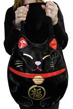 Sleepyville Critters Lucky Welcoming Cat Maneki Neko Vegan Black Tote Bag Purse