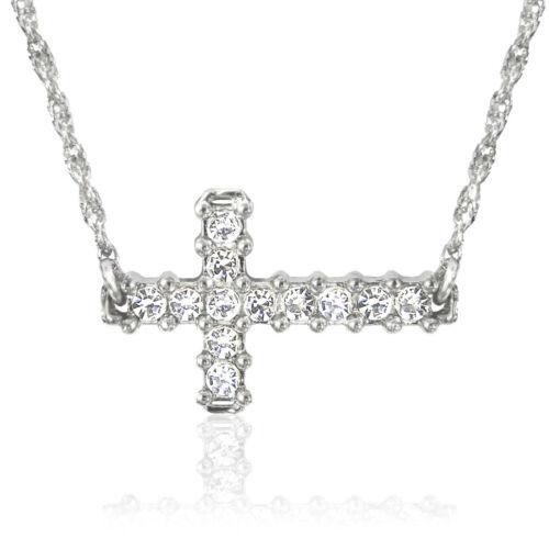 "Austrian Crystal Necklace *15/""-18/"" Adjustable Chain N733 Silver Sideways Cross"