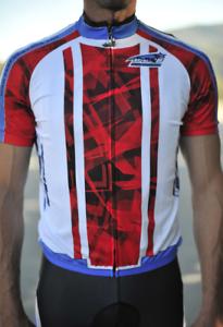 New Mens Cycling Jersey Bib Short Combo- Geometric Design