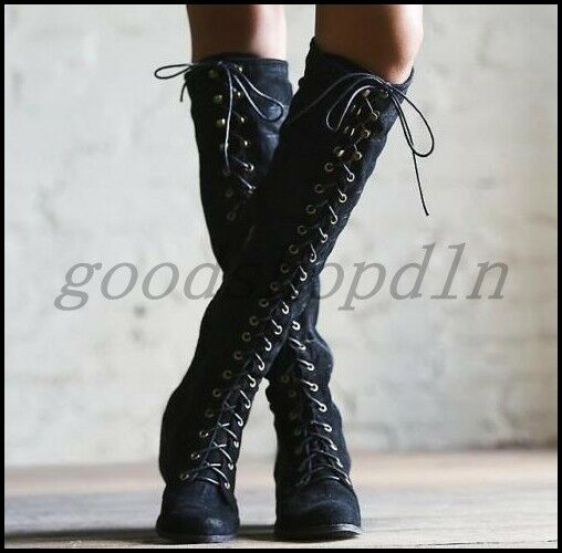 Retro Womens lace up leather knee high boots side zip block heel riding shoes SZ