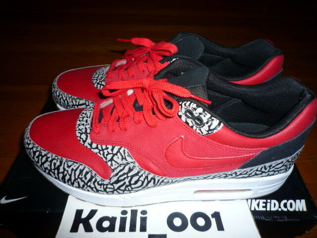 Nike Air Max 1 Premium ID Size 13 Worn RED CEMENT SUPREME Used 628312-991 GB