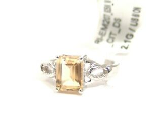 Sterling-Silver-Citrine-Ring-Diamonds-Emerald-cut-Size-6