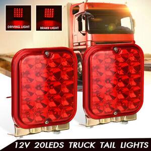 Paire-12V-20-LED-Rouge-Feux-Arriere-Freinage-Conduite-Bateau-Camion-Remorque