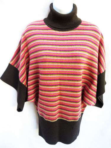 TRINA TURK Womens Striped Pink Brown Dolman Kimono