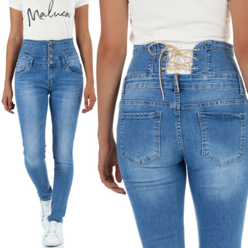 Malucas Damen Jeans Skinny Corsage Hose mit Spitze Hochbund Röhrenjeans Stretch