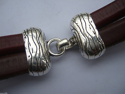 3/10 Antique Silver 20x6.5mm Hook Clasp For Double Licorice Leather End Caps