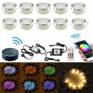10-50-x-45mm-WIFI-Controleur-RGB-Spot-a-Encastrable-Lampe-de-sol-etanche-Jardin