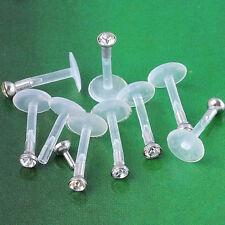 Bulk 10 pcs Silver 16G Clear Gem Chin Labret Lip Monroe Bar STUD Ring Piercing
